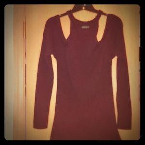A burgundy sweater dress
